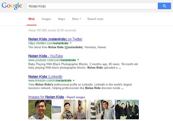 Screenshot Google Search Results For The Author