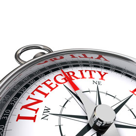 Compass with the word integrity.