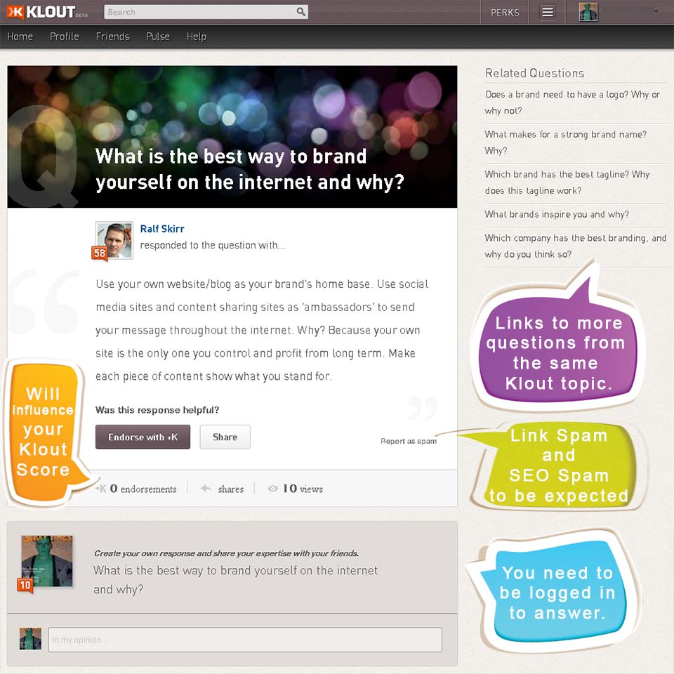 screenshot: klout experts question from ralf skirr