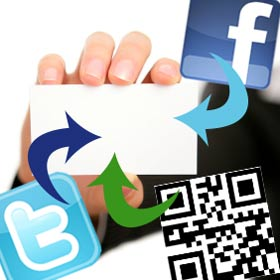 buisnesscard with qrcode-facebook-twitter