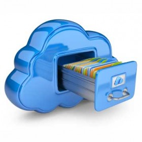 Illustration of cloud data storage.