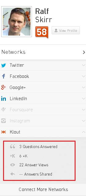 Screenshot Klout Dashboar, Network Section