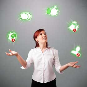 woman juggling social media icons, representing soical media time management