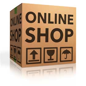 Box with printing 'online shop'