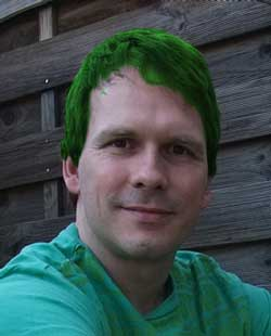 Ralf with green hair.