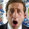 Man looking shocked, Michael Stelzner's '2012 Social Media Marketing Industry Report' in the background.